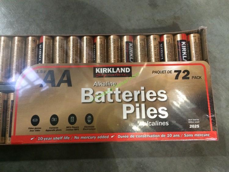 Kirkland Signature Alkaline Batteries.  AA 72 PK or AAA 64 PK