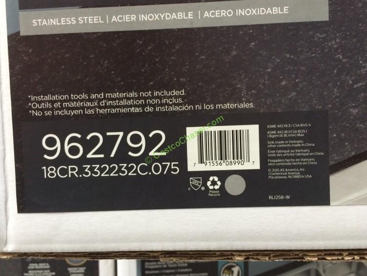 Costco 962792 American Standard Ss Kitchen Sink Bar Costcochaser