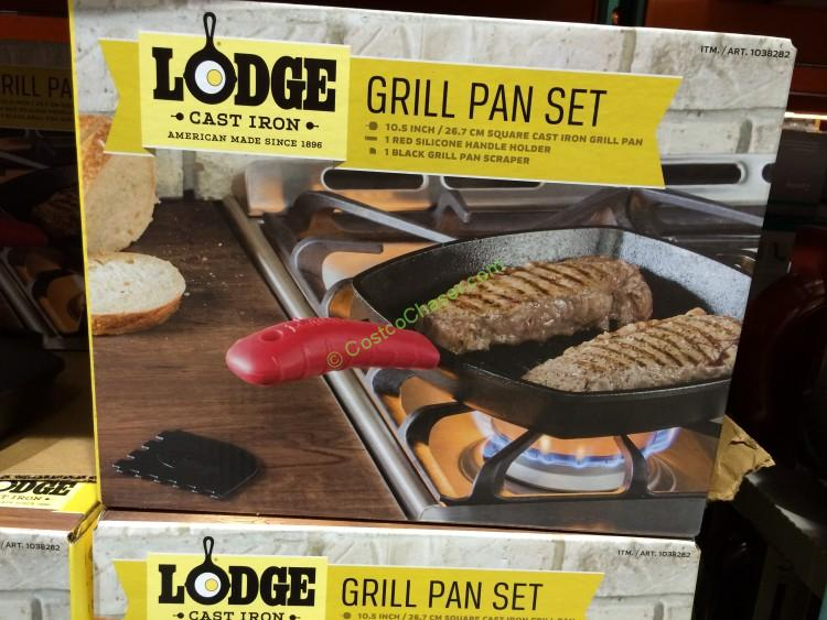 Lodge Cast Iron Grill Pan with Mitt and Scraper