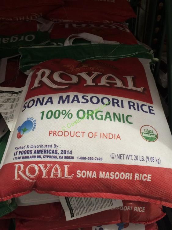 Royal Organic Sona Masoori Rice 20 Pound Bag