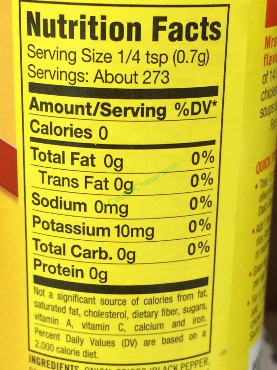 Mrs Dash Seasoning Blend 6 75 Container Costcochaser