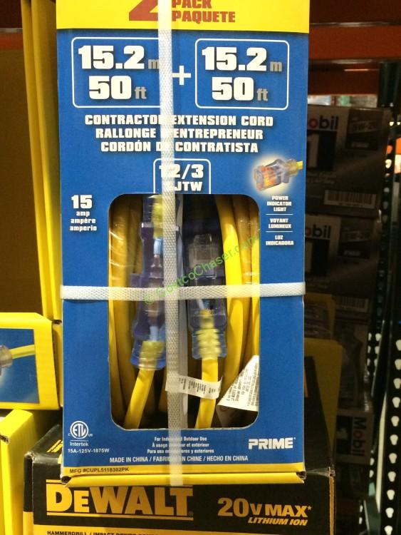 50 Foot 12/3 SJTW Extension Cord 2 PACK