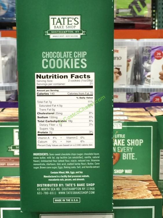 tate�s bake shop chocolate chip cookies 21 ounce box