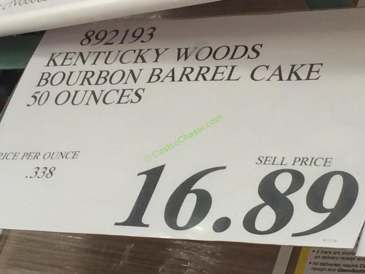 Costco 892193 Kentucky Woods Bourbon Barrel Cake Tag