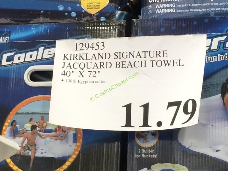 Costco 129453 Kirkland Signature Jacquard Beach Towel Tag