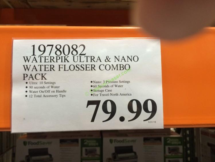 costco 1978082 waterpi ultra nano water flosser combo pack tag costcochaser. Black Bedroom Furniture Sets. Home Design Ideas