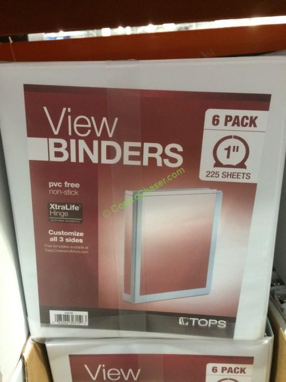 "Tops 1"" Round Ring White View Binder 6PK"