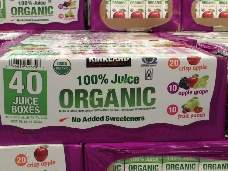 Kirkland Signature Organic 100% Juice Box 40/6.75 Ounce Boxes