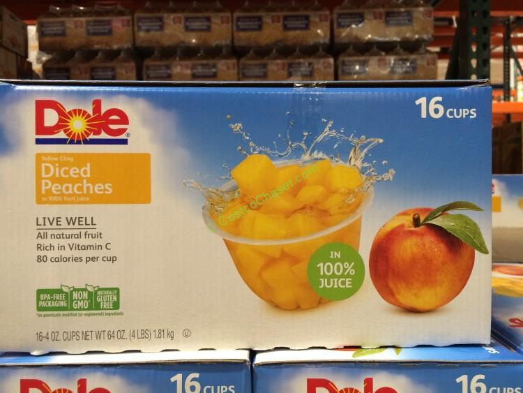 Dole Diced Peach Bowls 16/4 Ounce Bowels