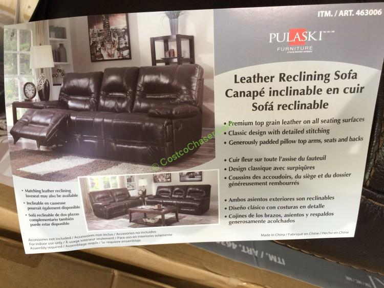 pulaski furniture costco pulaski furniture leather reclining sofa model 155 2475 12949