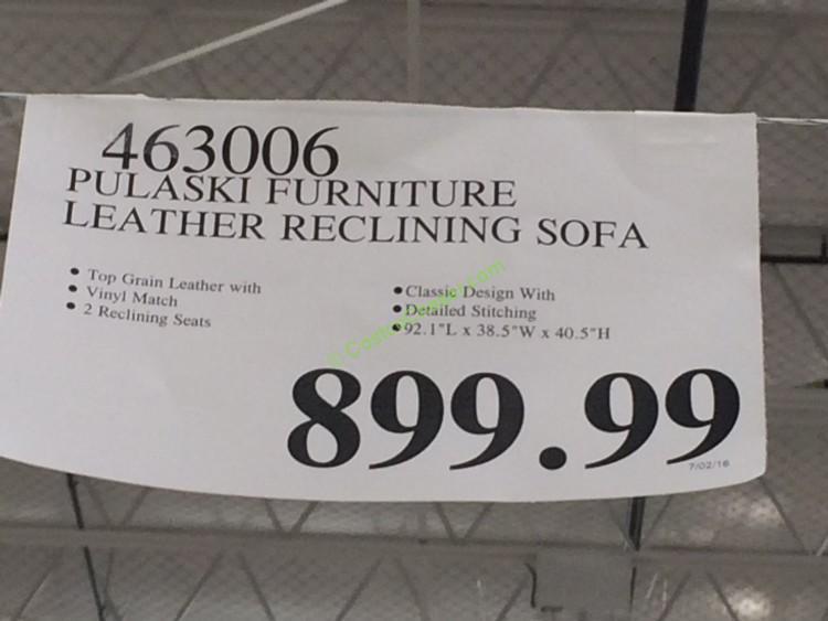 Pulaski Furniture Leather Reclining Sofa Model 155 2475