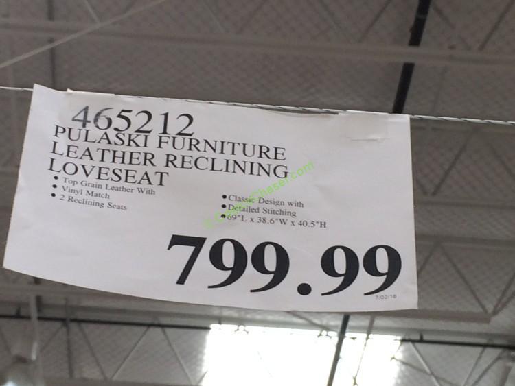 Pulaski Furniture Leather Reclining Loveseat Costcochaser
