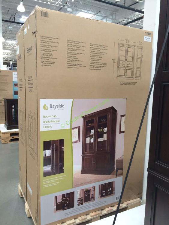 Bayside Furnishings Glass Door Bookcase Costcochaser