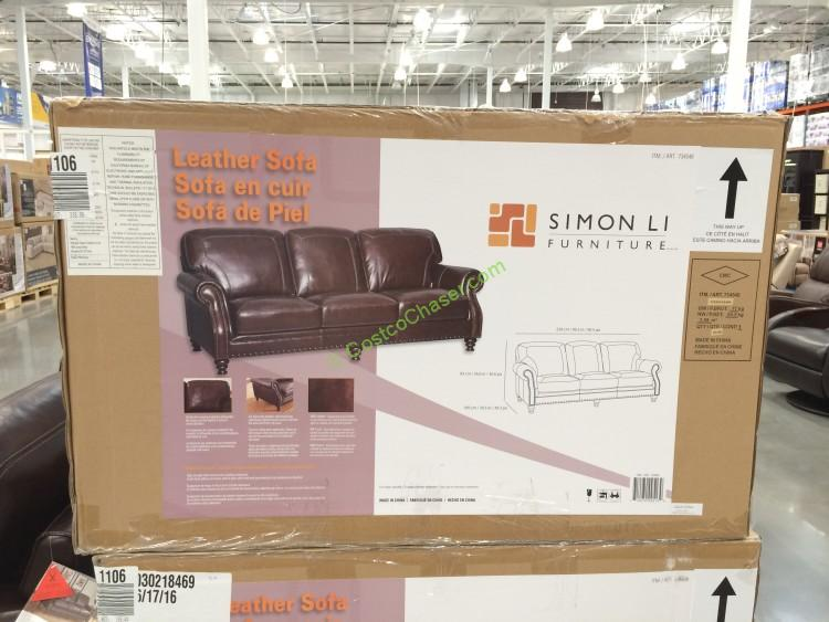 Costco 734548  Simon Li Leather Sofa Box