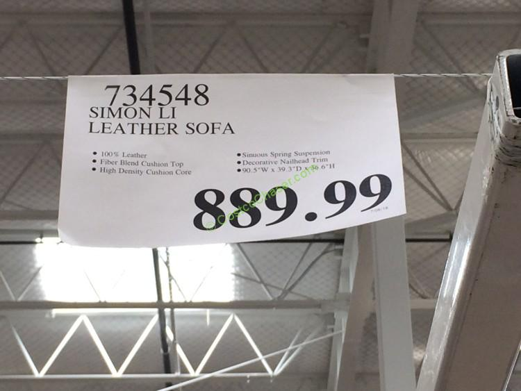Costco 734548  Simon Li Leather Sofa Tag