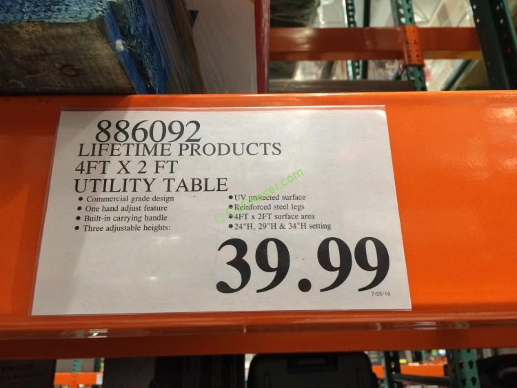 Costco 886092 Lifetime Products 4FT  2 FT Utility Table Tag
