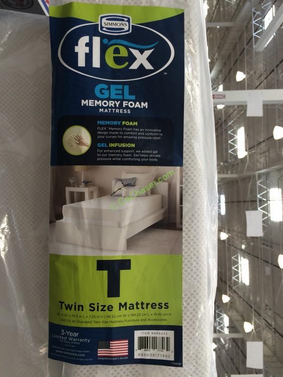 costco 898243 simmons flex gel memory foam twin mattres spec costcochaser. Black Bedroom Furniture Sets. Home Design Ideas