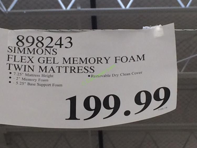 simmons twin mattress. costco-898243-simmons-flex-gel- memory-foam-twin-mattress-tag simmons twin mattress