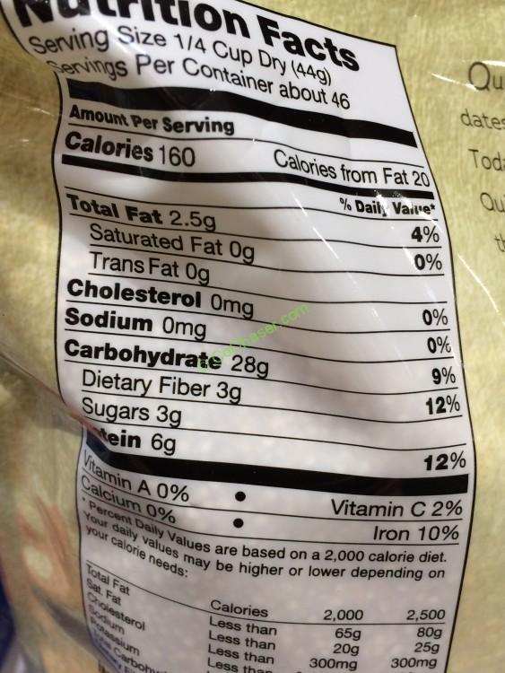 Costco-1001368-Kirkland-Signature-Organic-Quinoa-chart ...