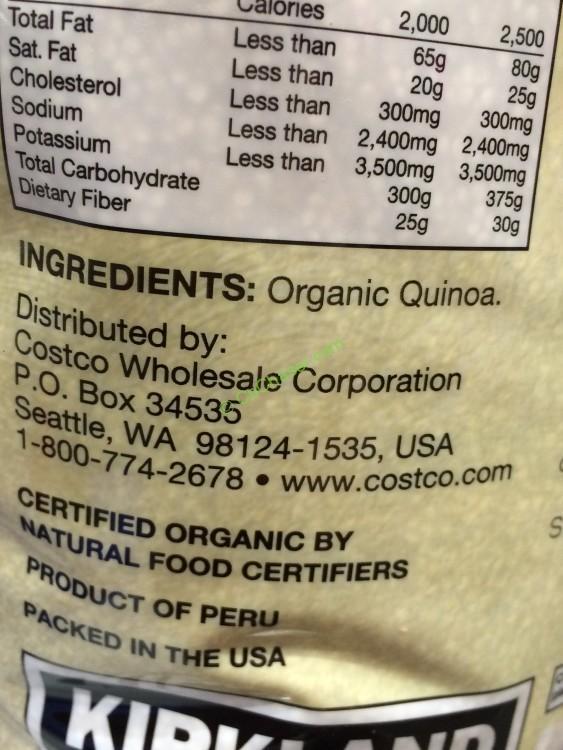 Costco 1001368 Kirkland Signature Organic Quinoa Ing