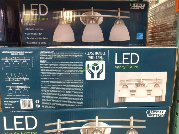 Bathroom Light Fixtures Costco feit electric 3 light bath vanity integrated led lights – costcochaser