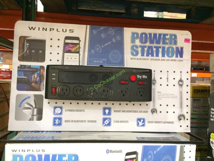 Winplus Power Station Wall Mount with LED Light & Bluetooth Speaker