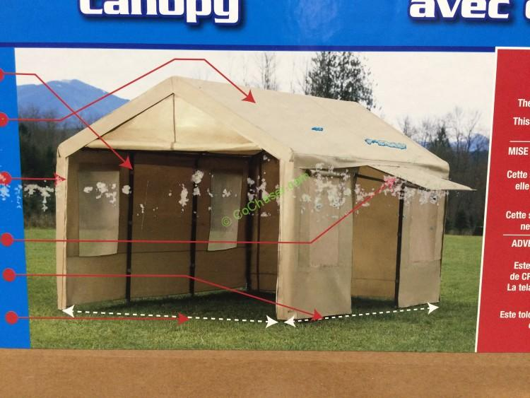 Canopy 10' x 20' Steel Frame, Tan Cover with Side Walls
