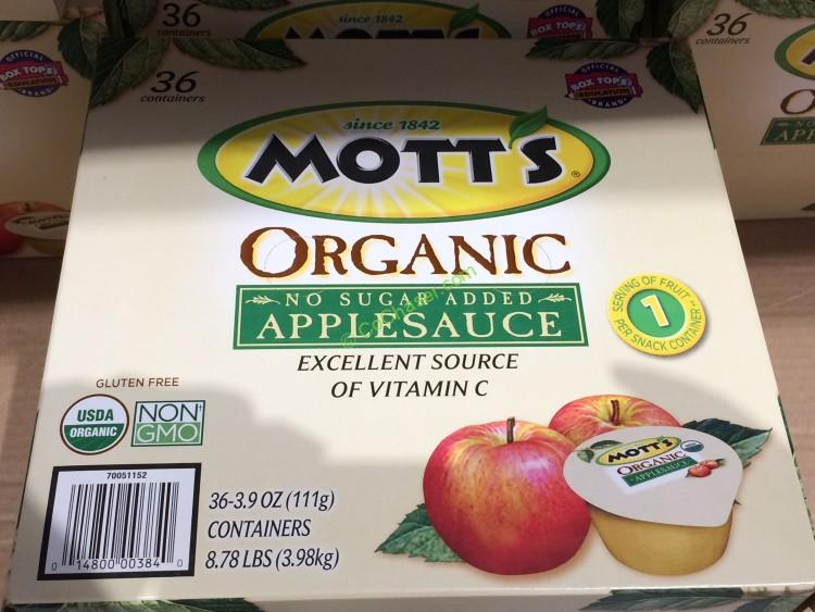 Motts Organic Apple Sauce 36/3.9 Ounce Cups
