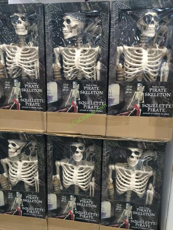 Costco 998101 60 Pirate Skeleton With Parrot All