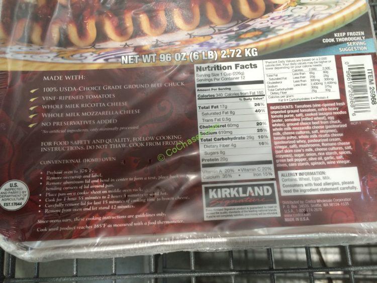 Kirkland Signature Beef Lasagna 6 Pound Tray Costcochaser