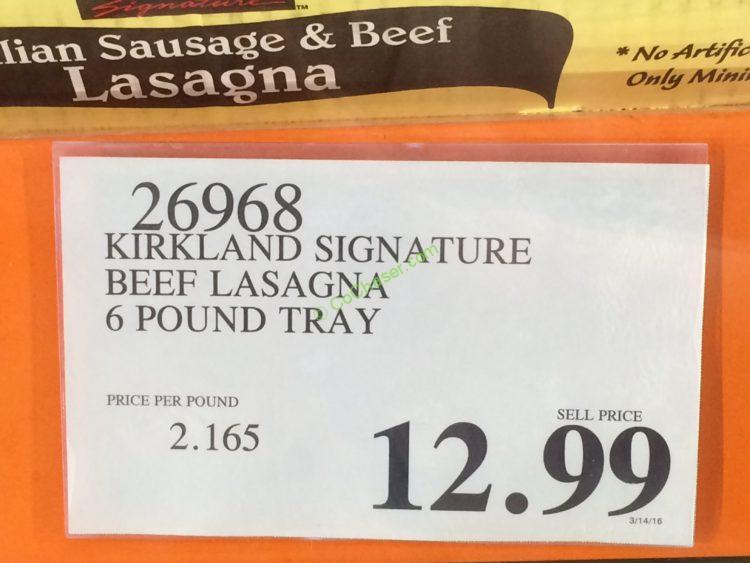 Costco-26968-Kirkland-Signature-Beef-Lasagna-tag