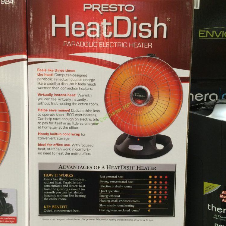 Costco 2917078 Presto Heatdish Parabolic Heater Back