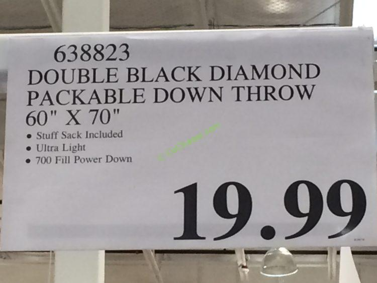 Double Black Diamond Packable Down Throw 60 X 70