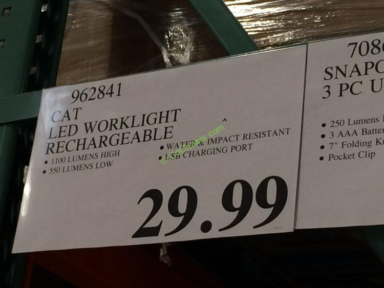 Costco 962841 Cat Led Worklight Rechargeable Tag