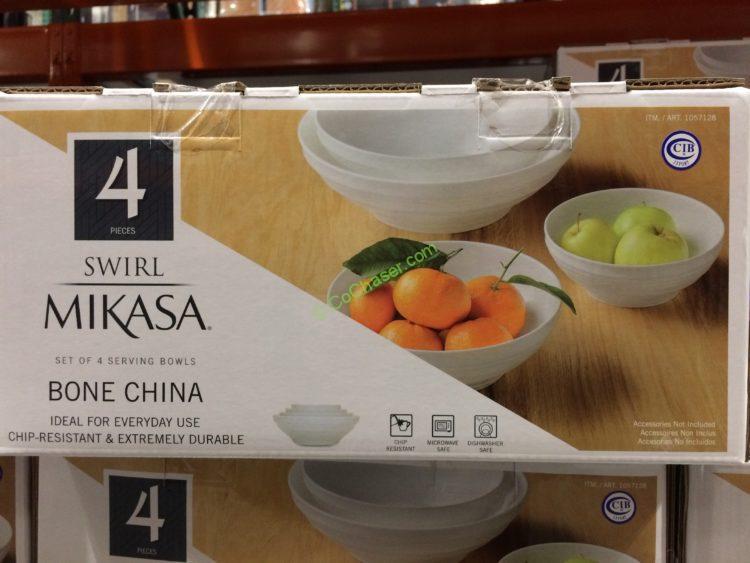 """Mikasa """"Swirl"""" 4PC Bowl Set Bone China"""