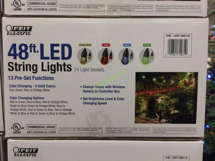 Feit Electric 48ft Led String Light Set Black Costcochaser