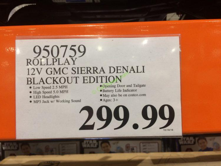 Costco-950759- Rollplay-12V-GMC-Sierra-Denali-Blackout-Edition-tag