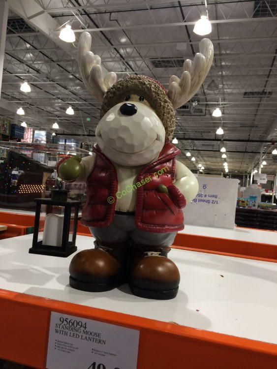 Standing Moose with LED Lantern