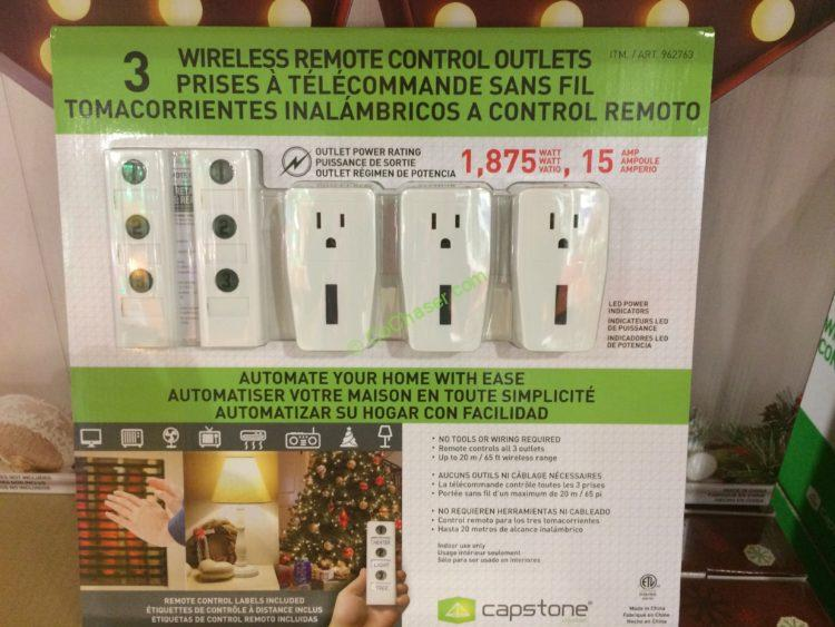 Capstone Wireless Remote Controlled Outlets 3PK
