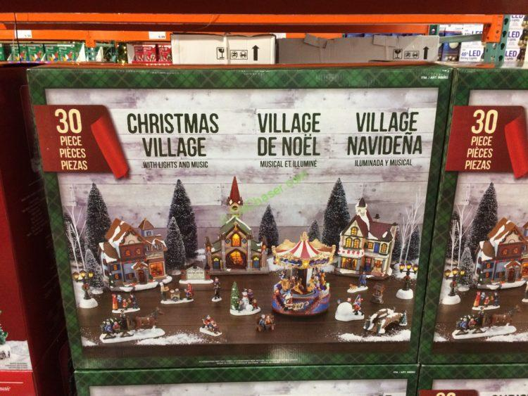 christmas village led lights music 30 piece set costcochaser. Black Bedroom Furniture Sets. Home Design Ideas