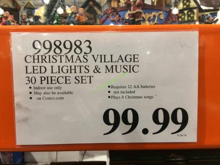 costco 998983 christmas village led lights music tag