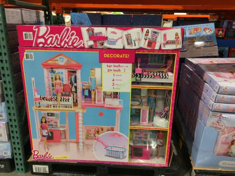 Barbie House Amp Pool Giftset With 3 Barbie Dolls Costcochaser