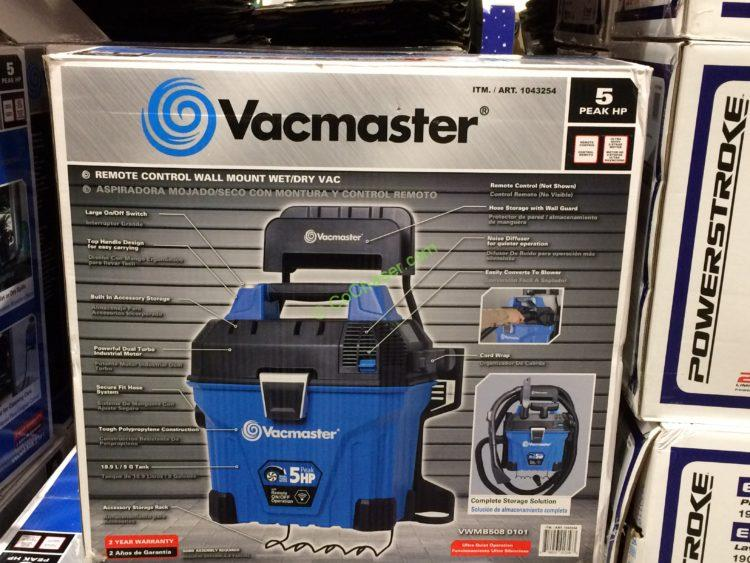 Vacmaster Wall Mountable Wet & Dry VAC with Remote, Model# VWMB508 0101