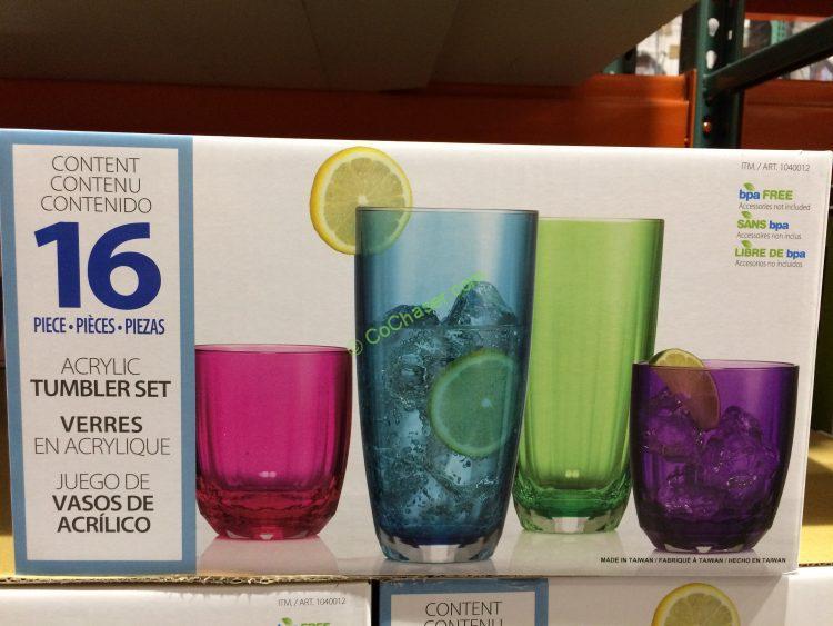 Fluted Acrylic 16PC Drinkware Set
