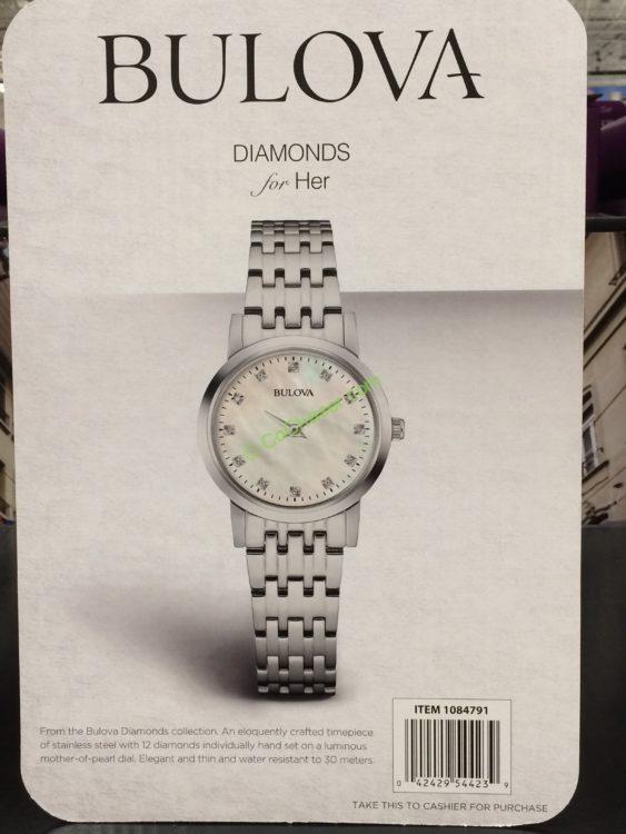 Bulova Stainless Steel Diamond Dial Women S Watch Model 96p175