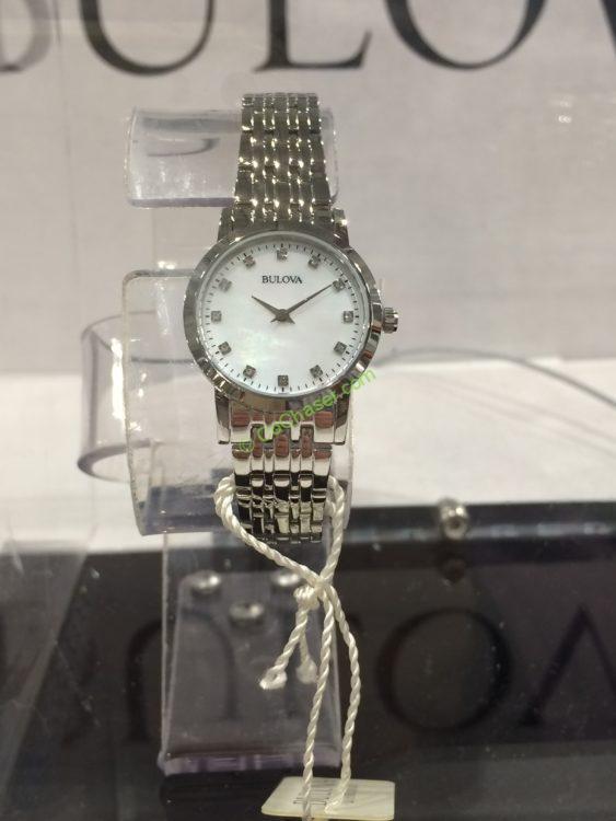 Bulova Stainless Steel Diamond Dial Women's Watch, Model #: 96P175