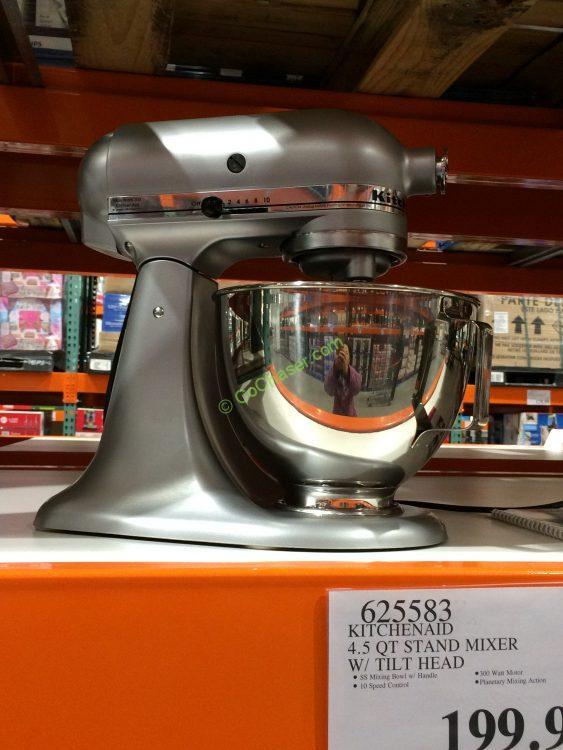 KitchenAid 4.5 QT Stand Mixer with Tilt Head . Model#KSM85PBSM
