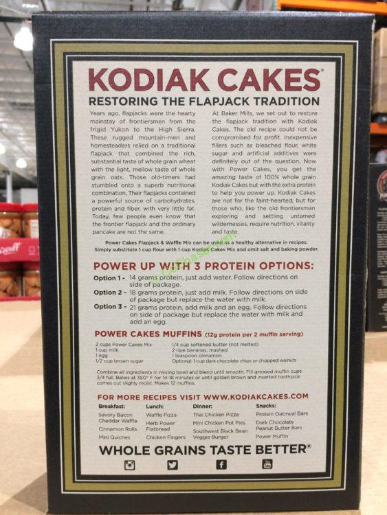Costco,834603,Kodiak,Power,Cakes,Flapjack,Waffle,Mix,back