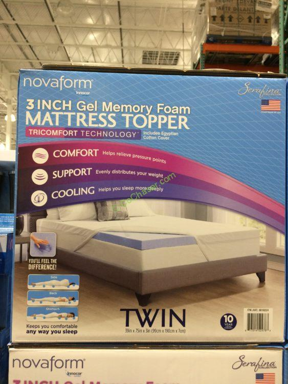 "Novaform Serafina TriComfort 3"" Gel Memory Foam Mattress Topper, Twin"