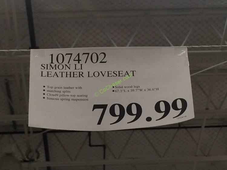 Costco-1074702-Simon-Li-Leather-Loveseat-tag